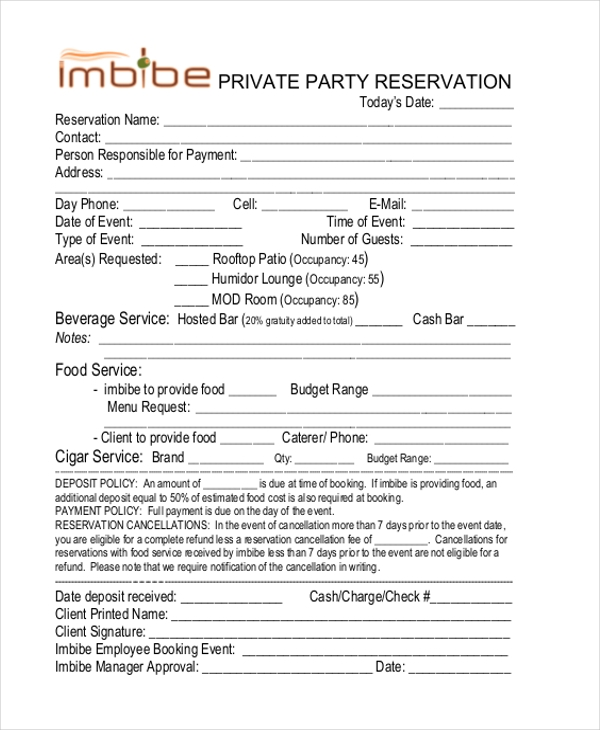 Sample Restaurant Reservation Form   Free Documents In Pdf