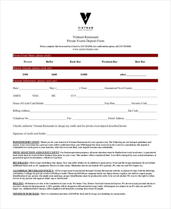 restaurant reservation deposit form