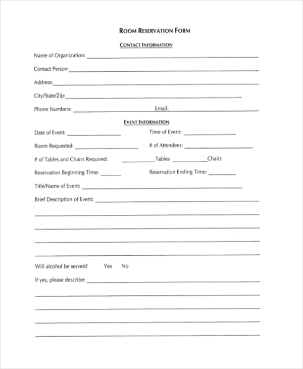 Free Reservation Forms Blank Reservation Form Sample Reservation