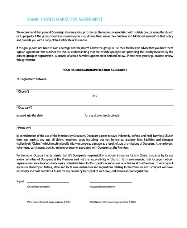 sample hold harmless agreement form 12 free documents in word pdf
