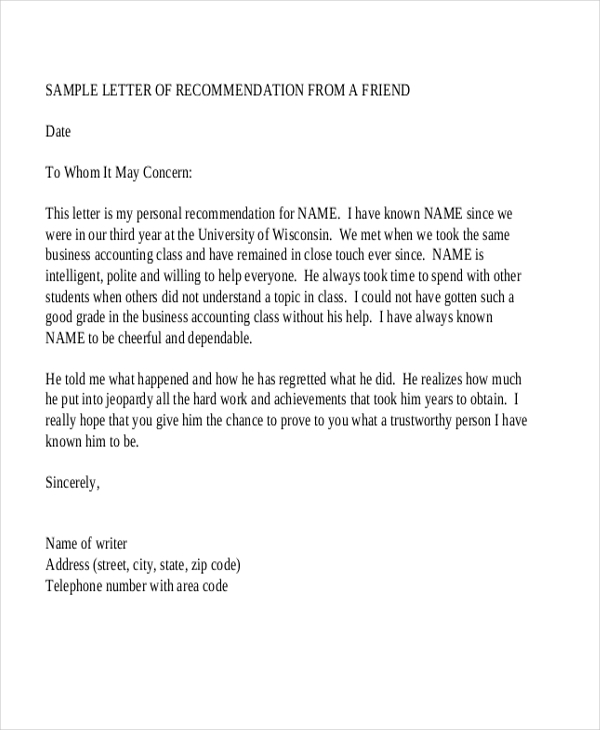 Sample Recommendation Letter   Free Documents In Word Pdf