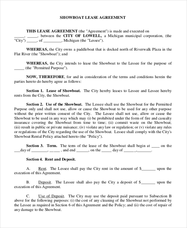 showboat lease agreement