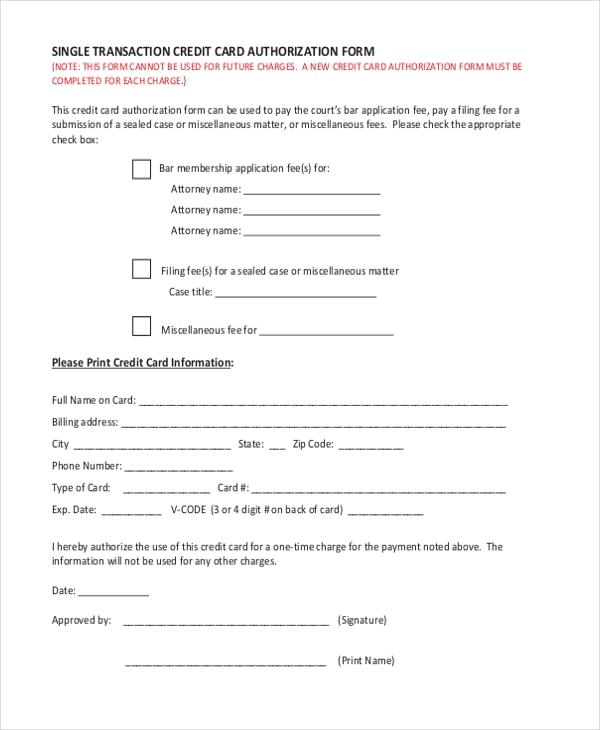 single transaction credit card authorization form