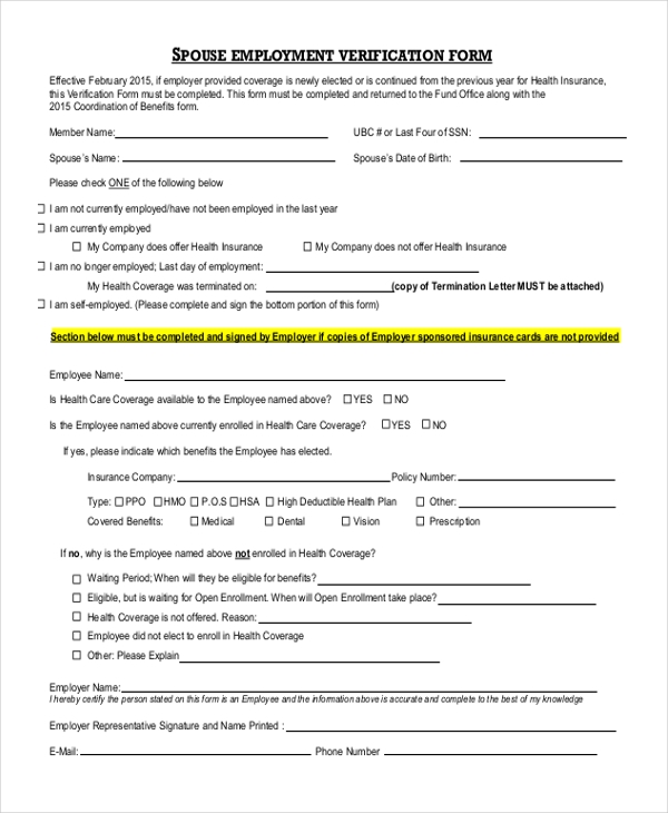 SPOUSE EMPLOYMENT VERIFICATION FORM