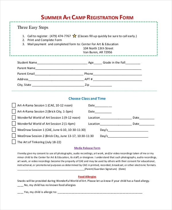 Sample Summer Art Camp Registration Form  Enrollment Form Format