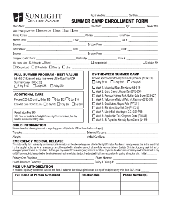 summer camp enrollment form