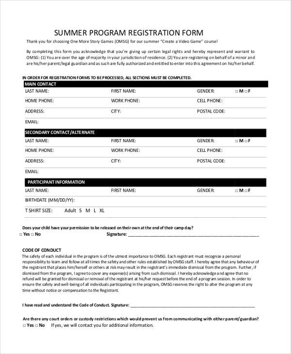 summer program registration form