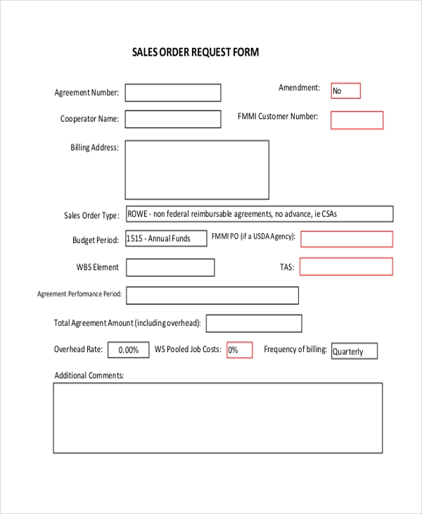sales order request form