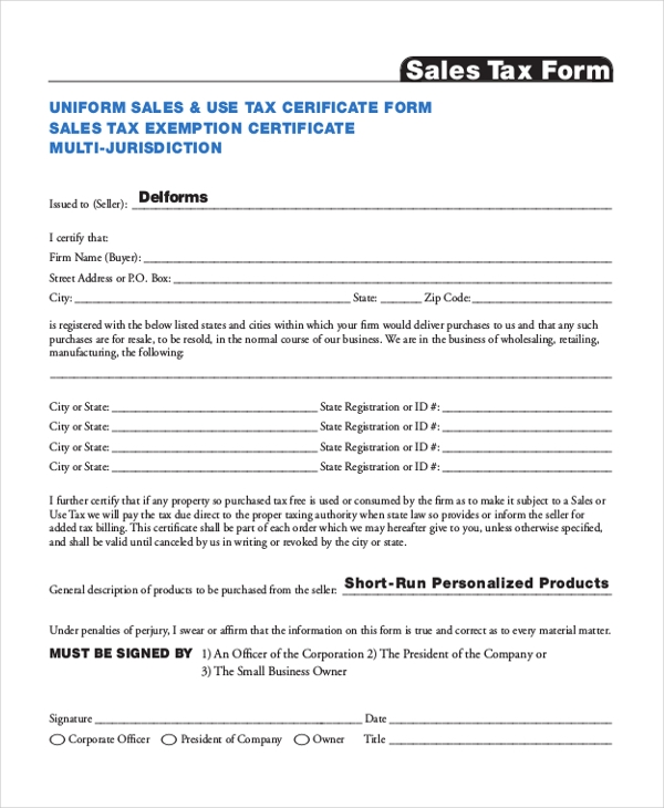 sales tax form