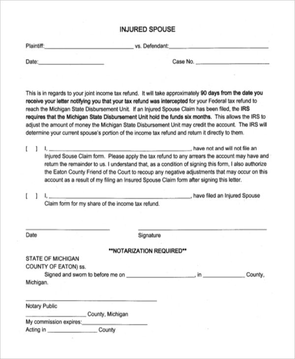 sample injured spouse form
