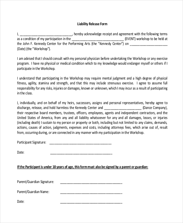 sample liability release form