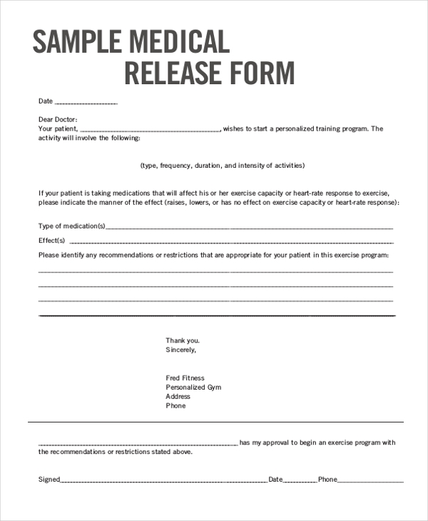Sample Medical Release Form   Free Documents In Word Pdf