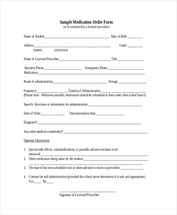 sample medication order form