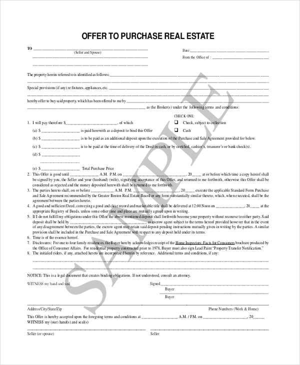 Sample offer to purchase real estate form 7 free for Offer to purchase contract template