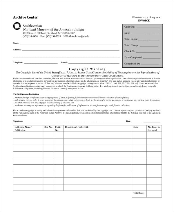 sample photocopy invoice form
