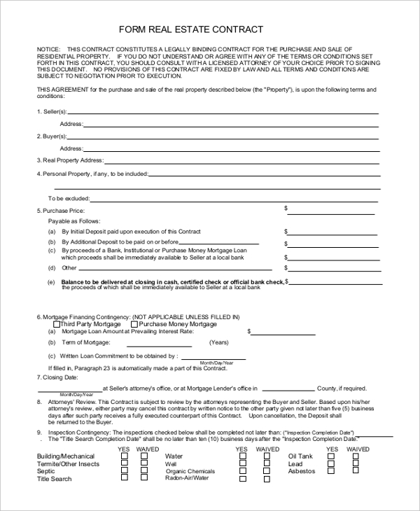Sample Contract Form   Free Documents In Word Pdf
