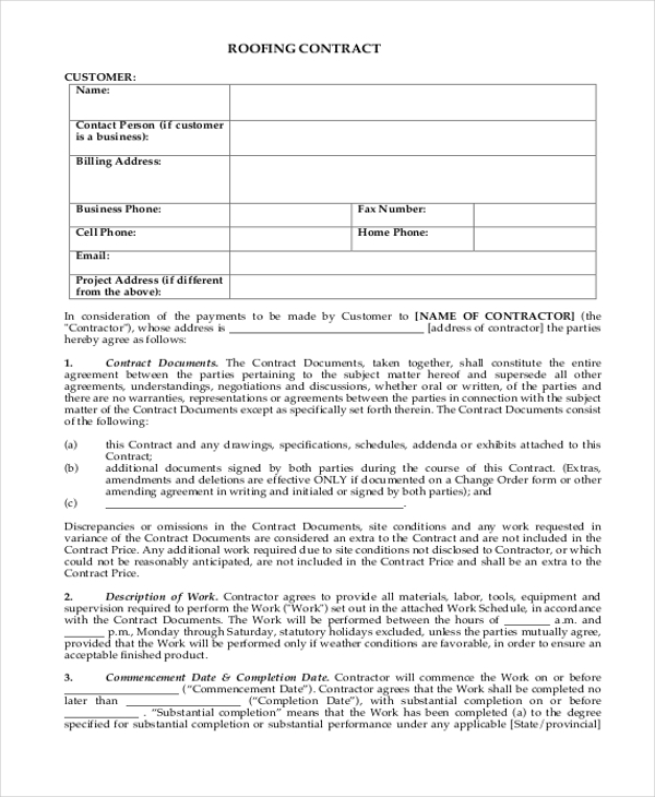 Sample Contract Form 8 Free Documents in Word PDF