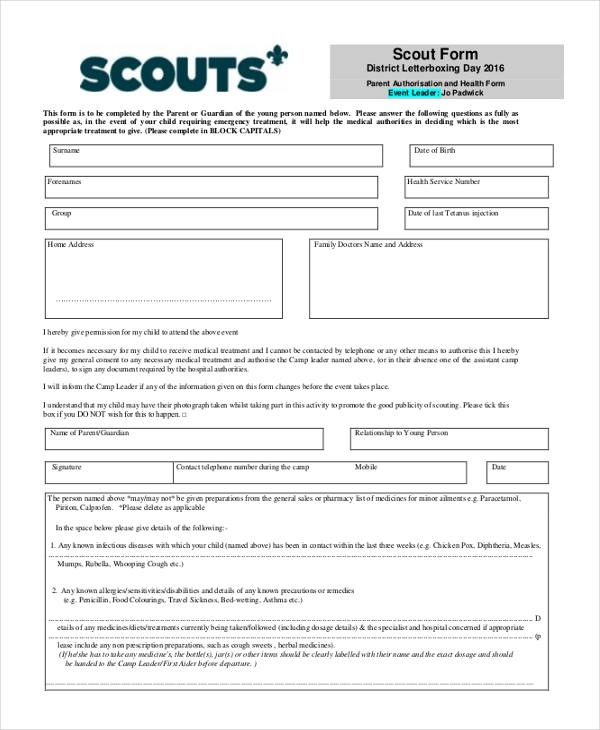 sample scout health form
