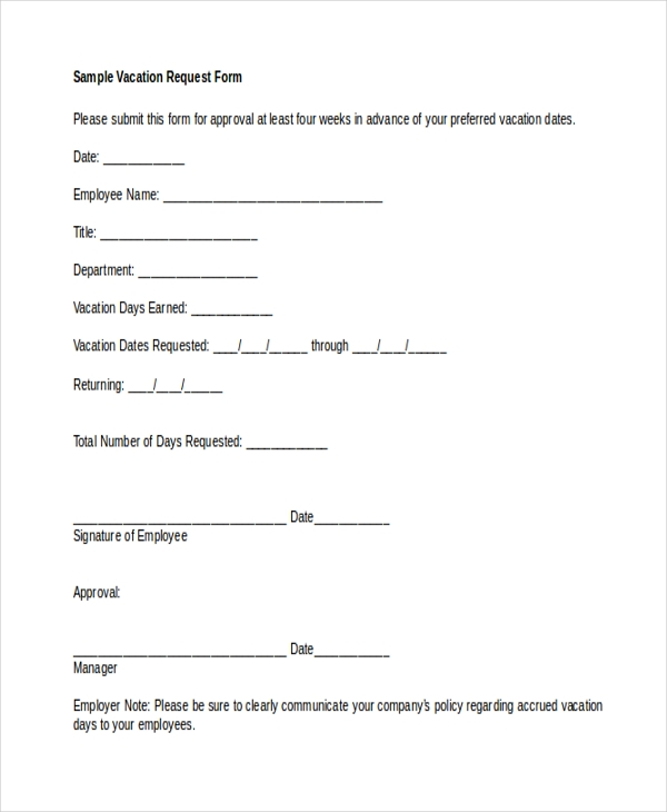 Sample Vacation Request Form - 9+ Free Documents In Word, Pdf