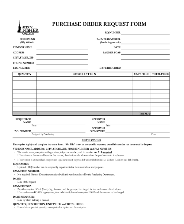 Sample Purchase Order Request Form   Free Documents In Pdf