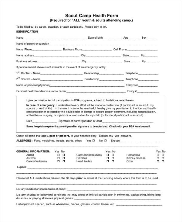 Sample Scout Health Form - 8+ Free Documents In Pdf