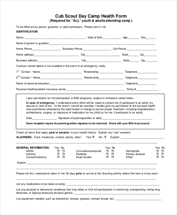 Amazing Bsa Health Form Ideas  Best Resume Examples By Industry