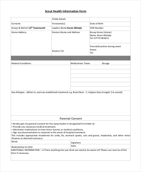 scout medical health form