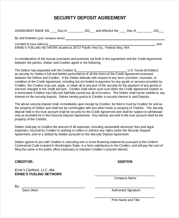 Free 10 Sample Security Deposit Forms Pdf