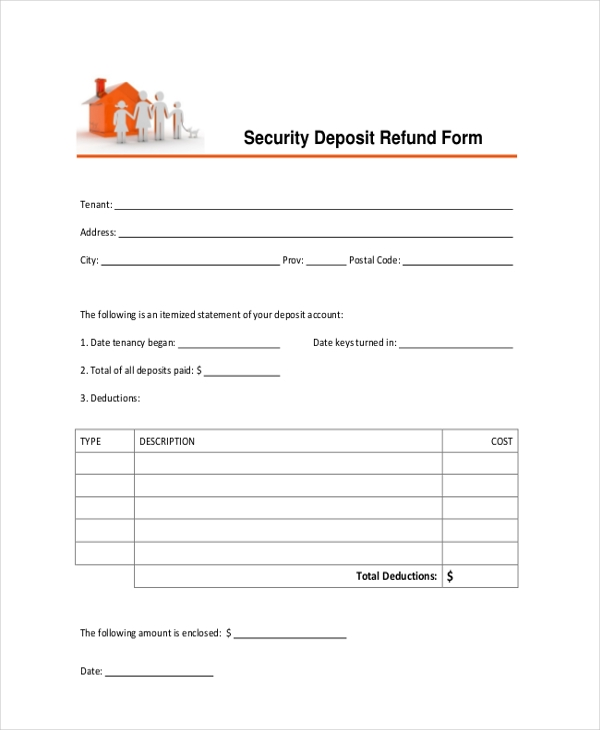 Letter Template Return Security Deposit