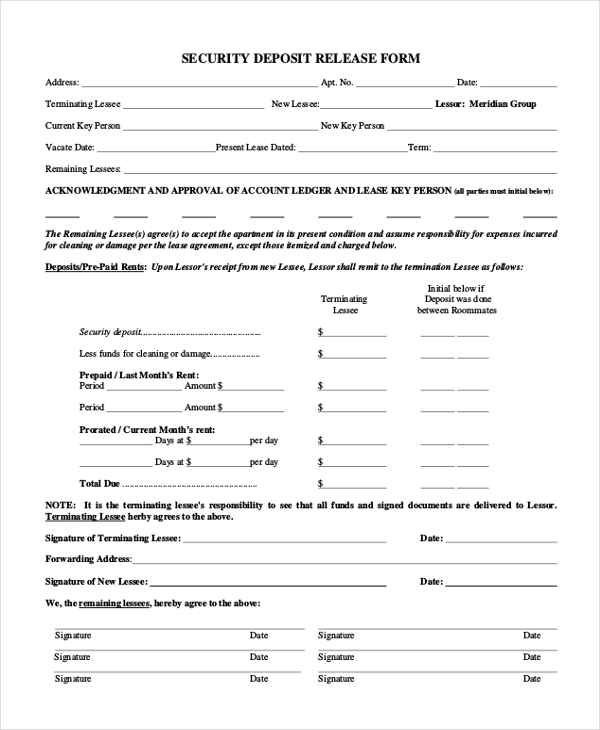 Sample Security Deposit Form   Free Documents In Pdf