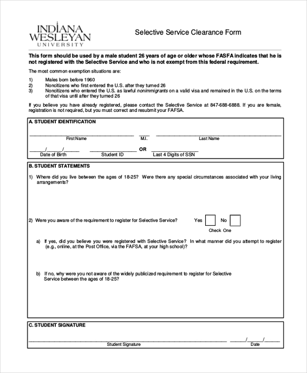Sample Selective Service Forms    Free Documents In Pdf