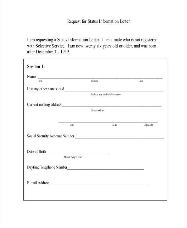 selective service request form