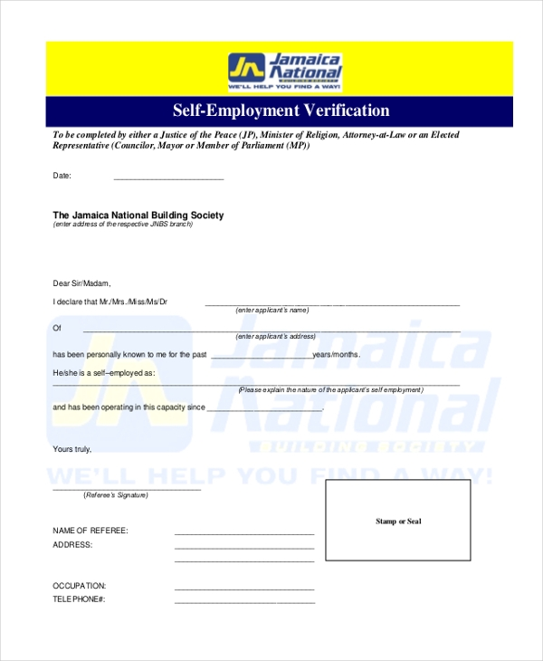 Self Employment Verification Form