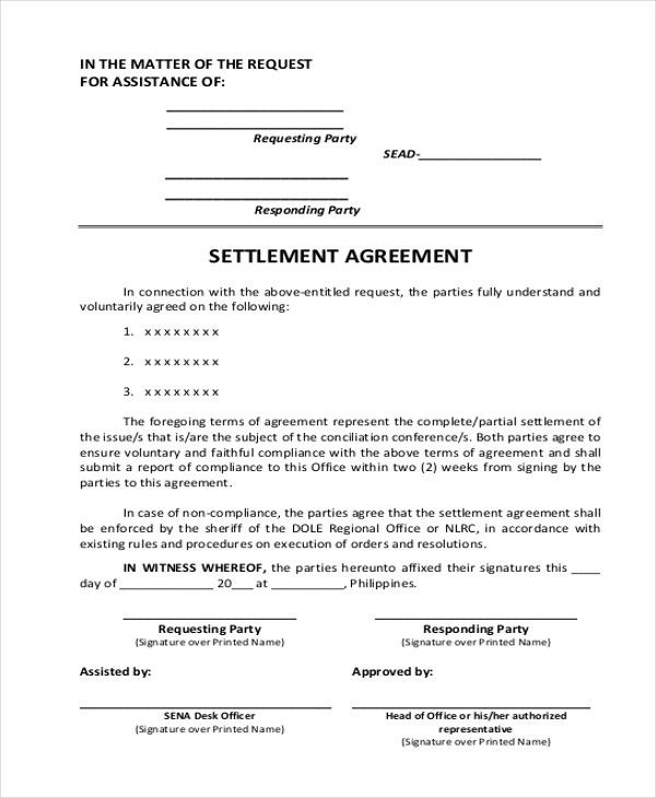 Sample agreement form 20 free documents in word pdf settlement agreement form platinumwayz