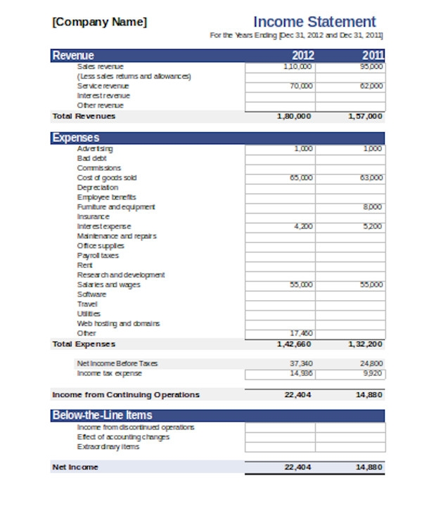 simple income statement form