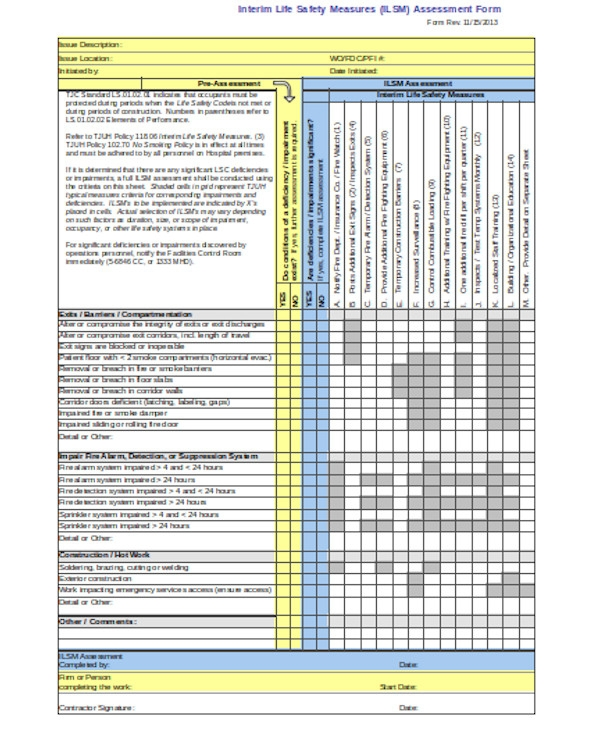 simple insurance assessment form