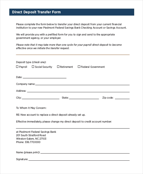 Sample Social Security Direct Deposit Form - Free Documents In Pdf