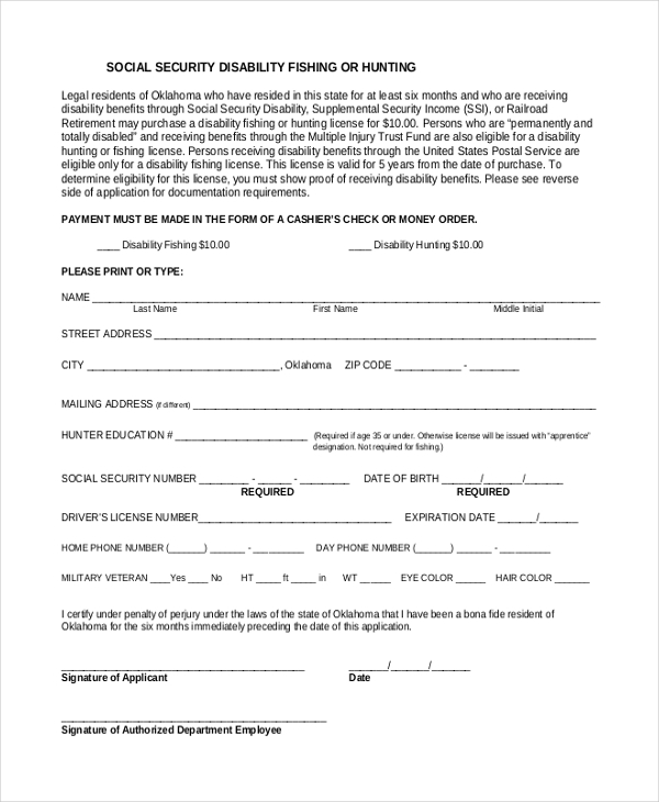 social security disability form