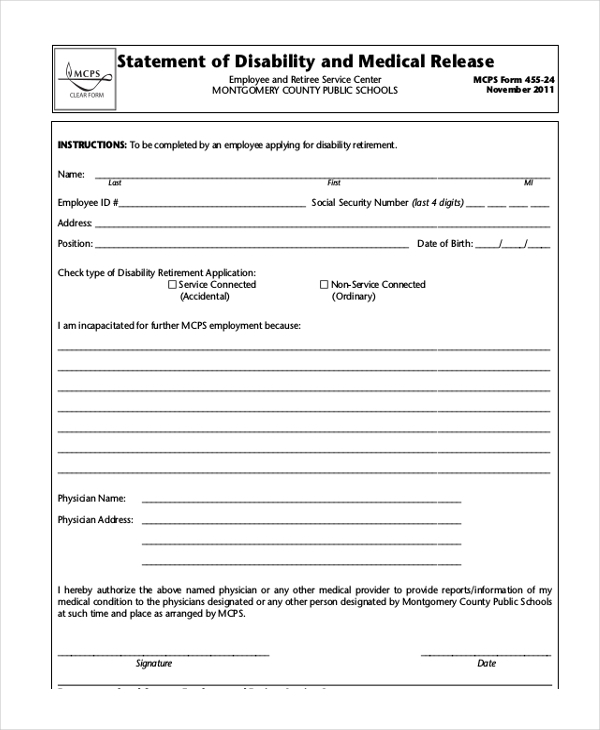 Sample Social Security Disability Form   Free Documents In Pdf