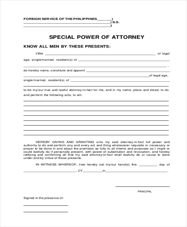 Sample Power Of Attorney Form   Free Documents In Word Pdf