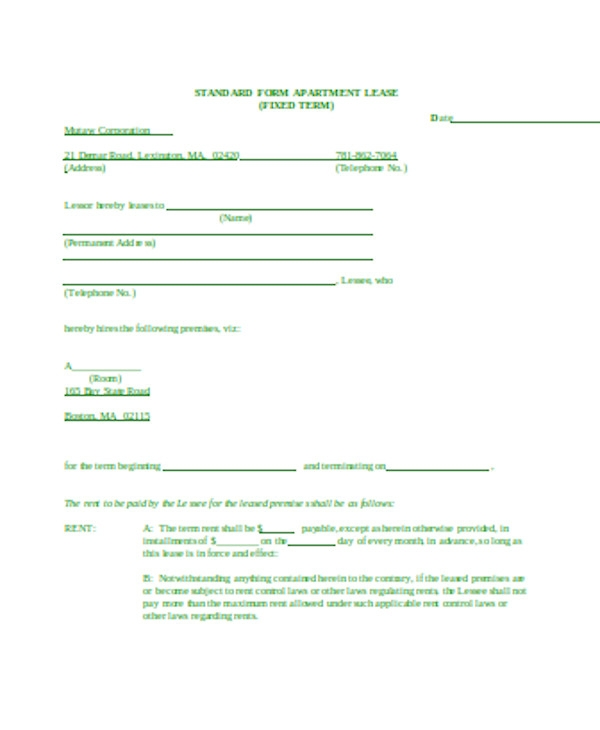 standard apartment lease form