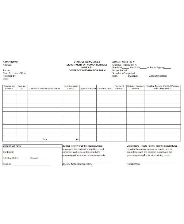 standard contract information form