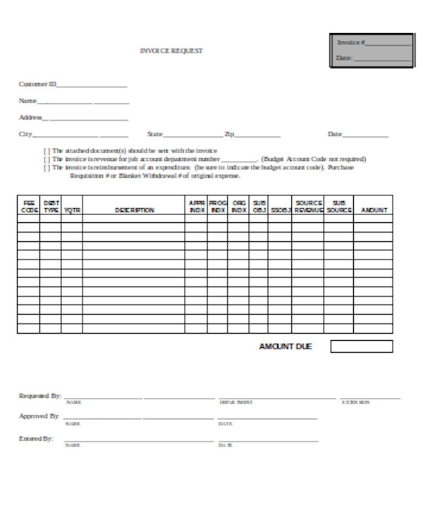 standard invoice request form