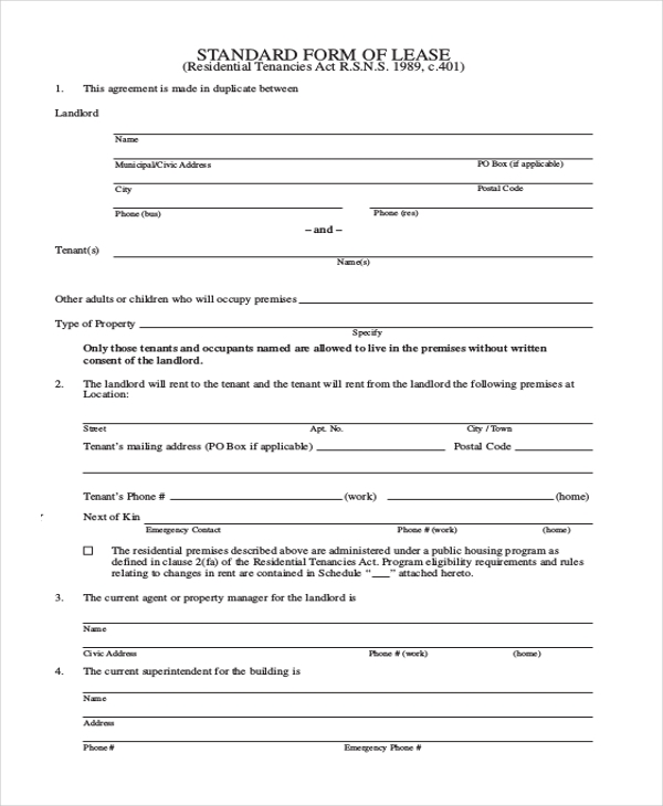 standard lease form