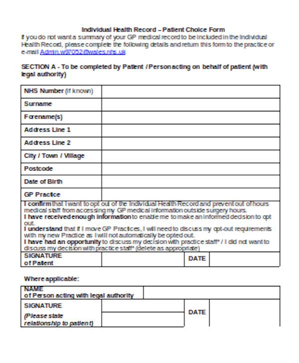 standard medical choice form