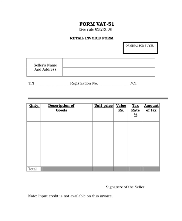 Sample Standard Invoice Form 8 Free Documents in PDF – Standard Invoice Form