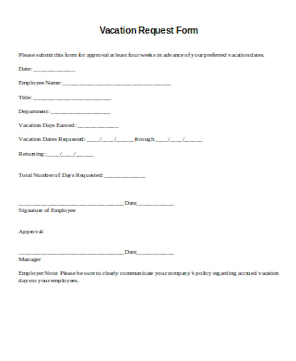 standard vacation request form