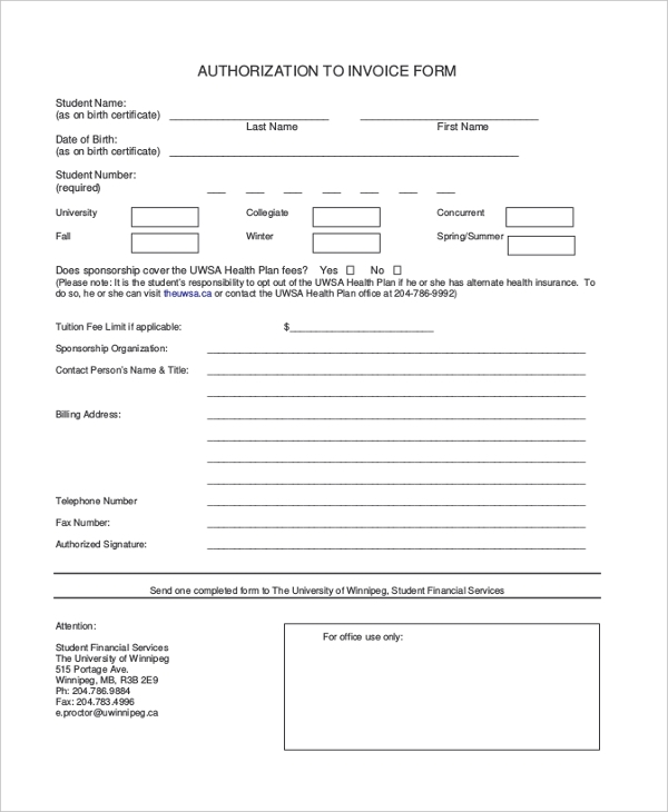 standard authorization to invoice form