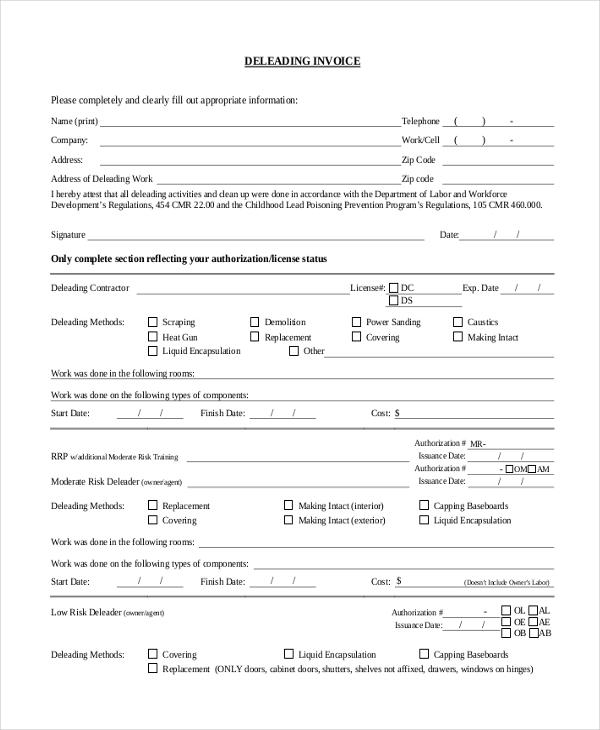 standard deleading invoice form