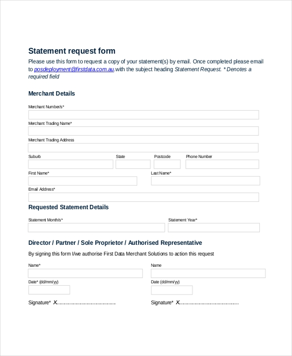 statement request form